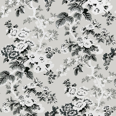 SCALAMANDRE WALLCOVERING-SC 0003WP88372-ASCOT FLORAL PRINT-FRENCH GREY