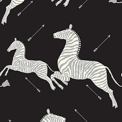 Scalamandre Wallcovering - SC 0009WP81388M - ZEBRAS - BLACK & SILVER