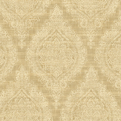 SCALAMANDRE WALLCOVERING-WMAMF060412-OASIS DAMASK-MID GOLD