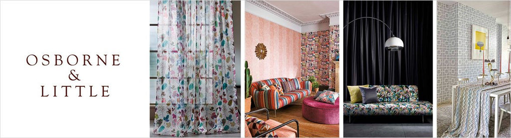 Osborne & Little Wallcovering, a selection of wallpaper such as textures, botanicals, silk, linen & floral designs.