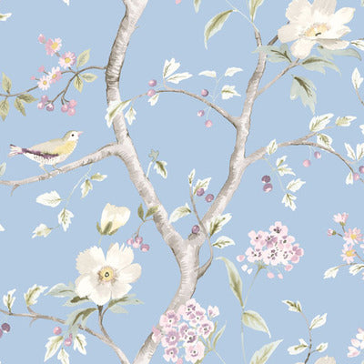 SEABROOK -SOUTHPORT FLORAL TRAIL FABRIC-SKY BLUE AND ARROWROOT-LN11912F