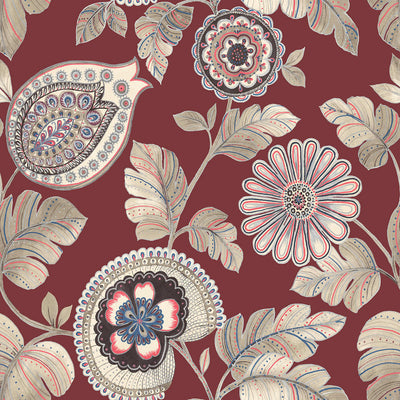 SEABROOK WALLPAPER-CALYPSO PAISLEY LEAF-CABERNET AND CORAL-RY31201
