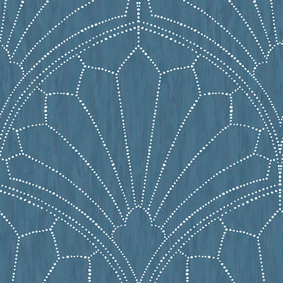 SEABROOK WALLPAPER-SCALLOP MEDALLION-STEEL BLUE AND IVORY-RY31502