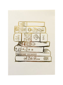 Gold Foil Book Stack Print