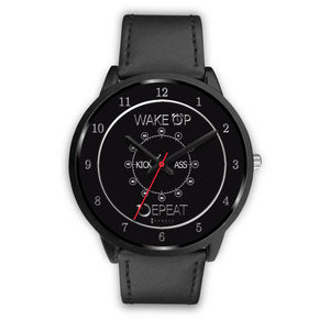 Wake Up Kick Ass Repeat Men's Watch in Black