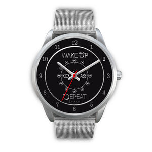 Wake Up Kick Ass Repeat Men's Watch in Silver