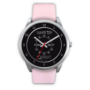 Wake Up Kick Ass Repeat Women's Watch in Silver