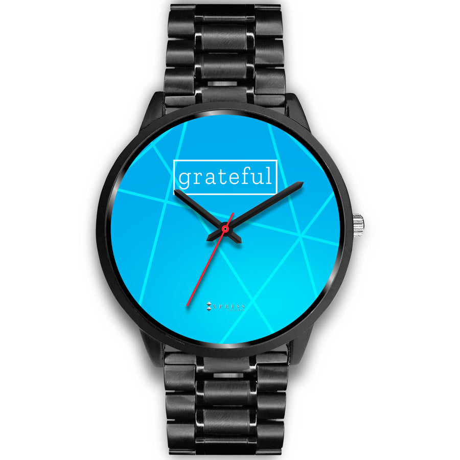 Men's Grateful Watch in Black (Blue Face)