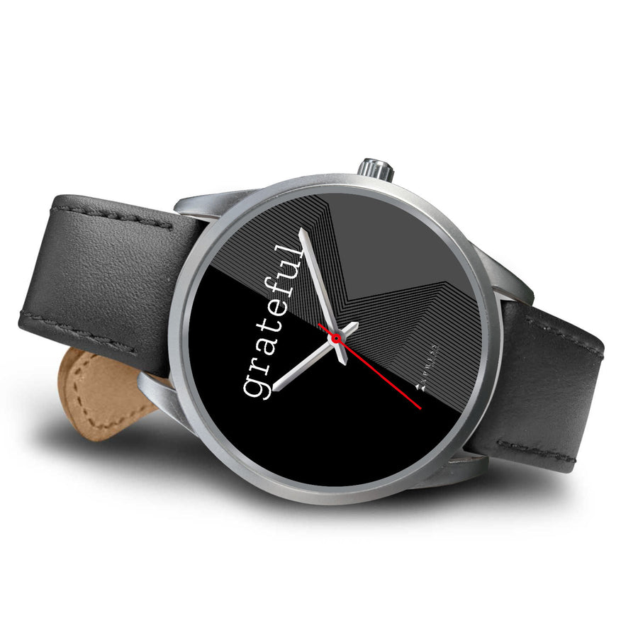 Men's Grateful Watch in Silver (Black Face)