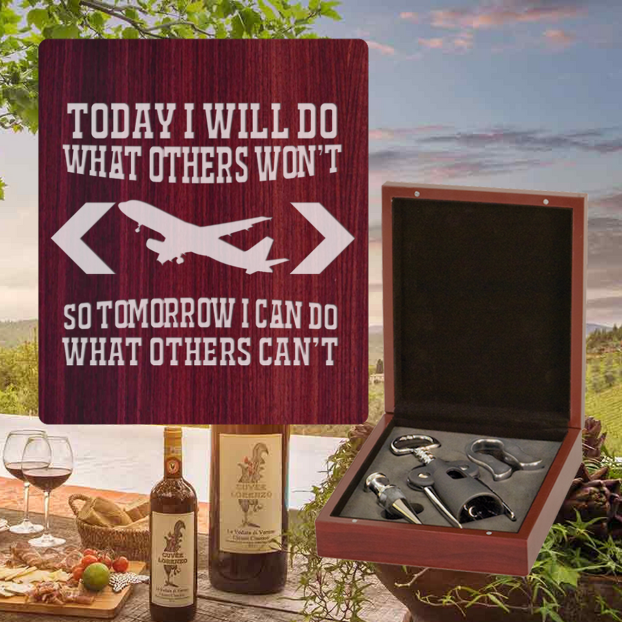Today I Will Do What Other Won't Wine Set - 3 Piece (Specialty Item)