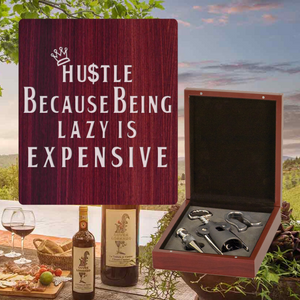 Hustle Because Being Lazy Is Expensive Wine Set - 3 Piece (Specialty Item)
