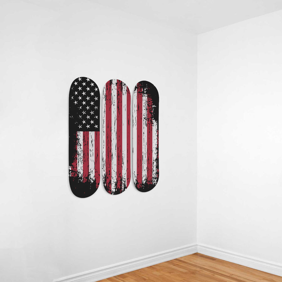 All American Hustler 3-Panel Skateboard Art