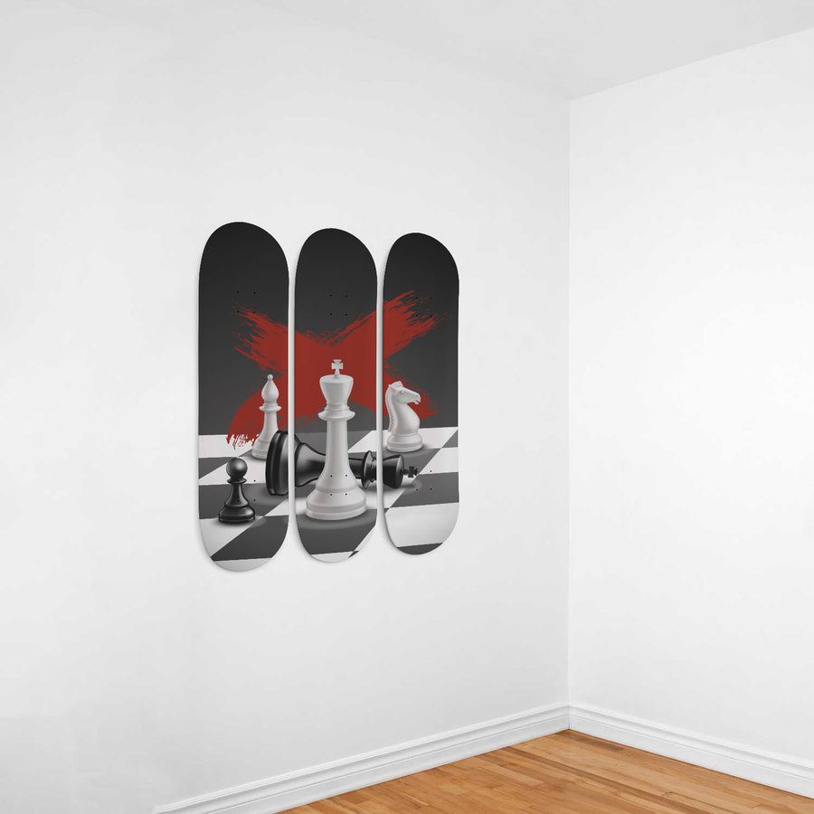 Work While They Sleep 3-Panel Skateboard Art