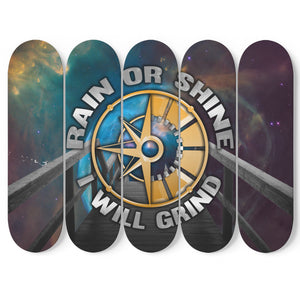 Rain Or Shine I Will Grind 5-Panel Skateboard Art