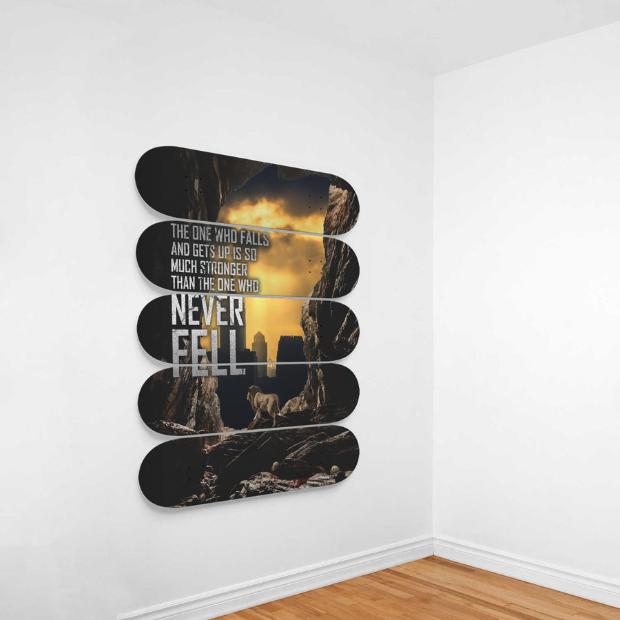 The One Who Falls And Gets Up Is So Much Stronger Than The One Who Never Fell 5-Panel Skateboard Art