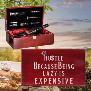 Hustle Because Being Lazy Is Expensive Wine Box - Double Bottle Set (Specialty Item)