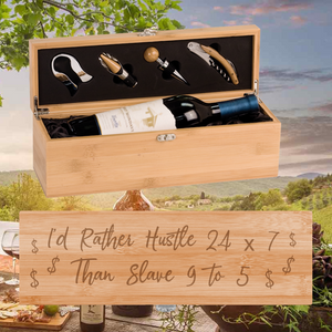 I'd Rather Hustle 24-7 Wine Box -  One Bottle Set (Specialty Item)
