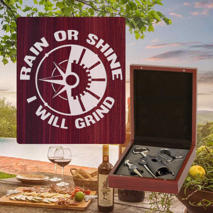 Rain Or Shine I Will Grind Wine Set - 3 Piece (Specialty Item)  Laser Engraved