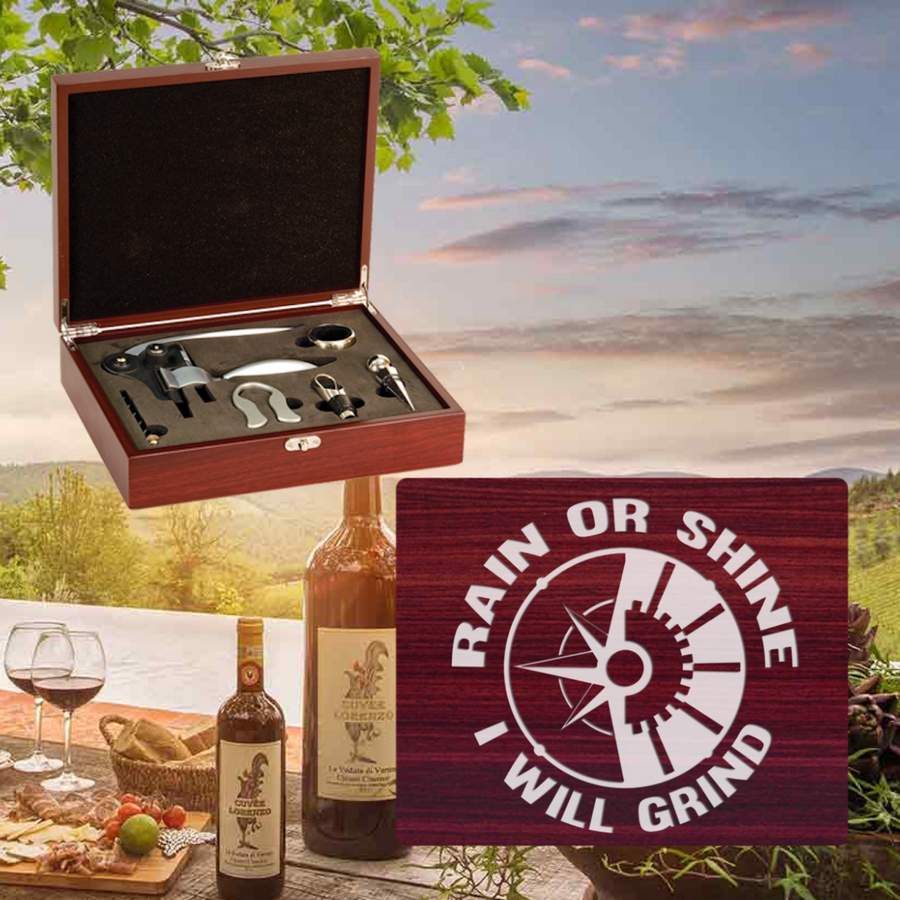 Rain Or Shine I Will Grind Wine Set-5 Piece (Specialty Item) Laser Engraved