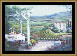 TEA IN THE GARDEN COLLECTION - TERRACE OVERLOOKING VINEYARD  BF-16