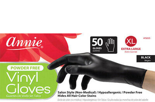 VINYL GLOVES POWDER FREE BLACK 50 PCS | ANNIE