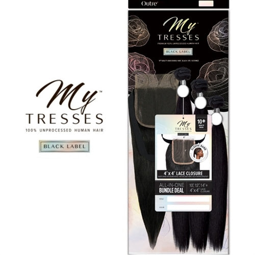 MYTRESSES BLACK LABEL STRAIGHT 3 BUNDLES + 4X4 CLOSURE | OUTRE UNPROCESSED