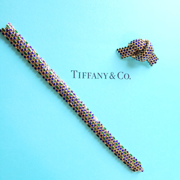 Tiffany & Co 1960s Gold Blue Green Enamel Bracelet and pin Set
