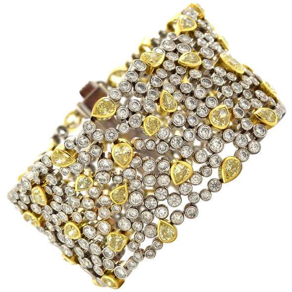 White and Yellow Diamond Link Bracelet