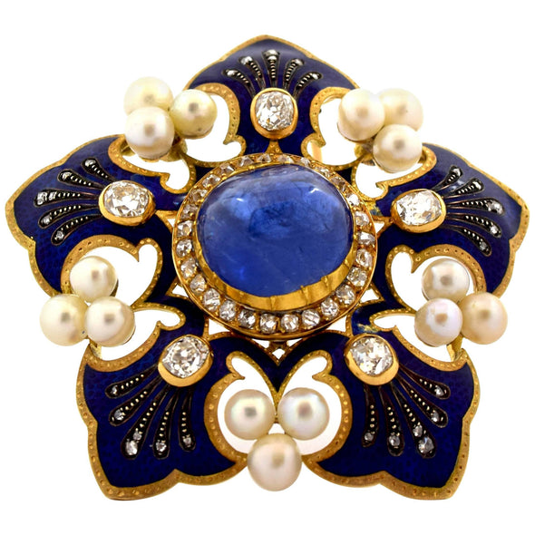 Fleur-de-Lis Blue Enamel, Pearls and Old Cut Diamonds Brooch Pin