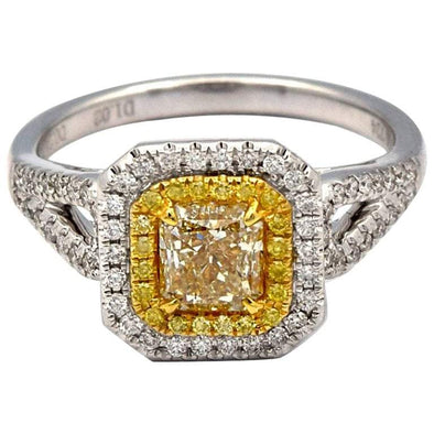 1.02ct Radiant Natural Yellow Diamond Ring with pave diamonds in 18K White Gold