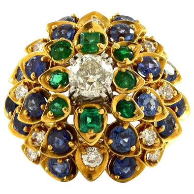 David Webb Cluster Ring with Diamonds, Sapphire and Emeralds