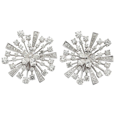 Bvlgari Fireworks Diamond Earrings 18 Karat White Gold