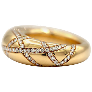 Chaumet 18 Karat Yellow Gold Ring with Pave Diamonds