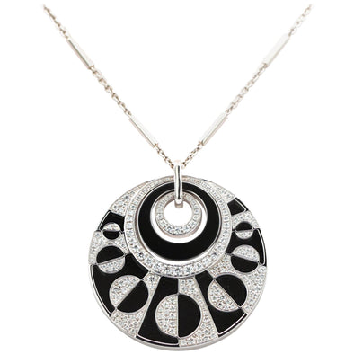 Bvlgari Intrasio 18 Karat Gold with Diamond and Onyx Large Pendant Necklace