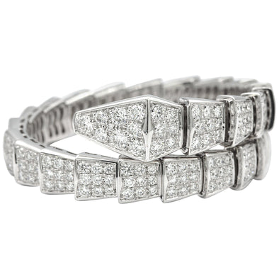Bvlgari Serpenti 18 Karat White Gold with Full Pave Diamonds Bracelet
