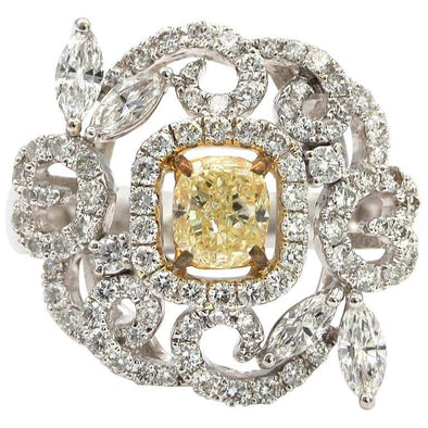 .83 Carat Fancy Yellow Cushion Diamond Flower Shaped Ring 18 Karat