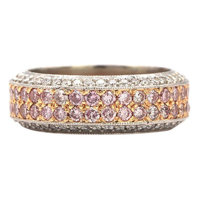 Beaudry Ring with 1.80 Carat Fancy Pink Diamonds and 0.82 Carat White Diamonds