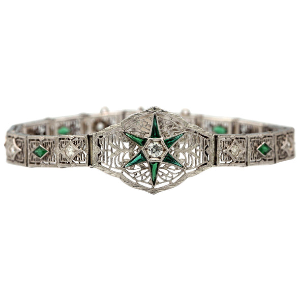 Victorian Green Emerald and White Diamond Bracelet