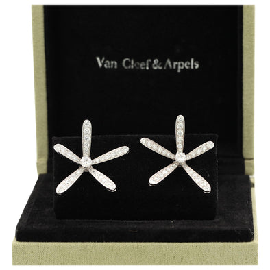 Van Cleef & Arpels Caresse D'Eole White Gold and Diamond Earrings