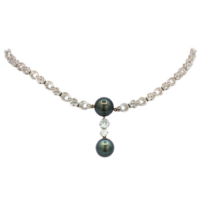 Diamonds and Green Pearl Necklace