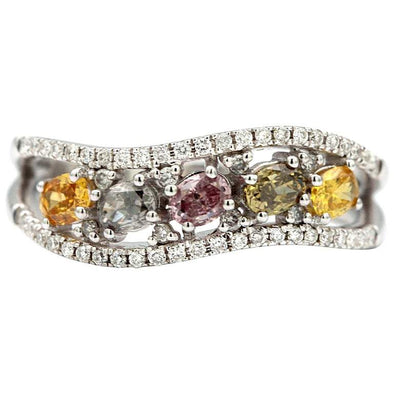 0.78 Carat Multicolored Oval Diamonds 18 Karat White Ring