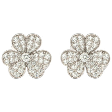Van Cleef & Arpels Frivole Earrings with White Diamonds and 18 Karat White Gold