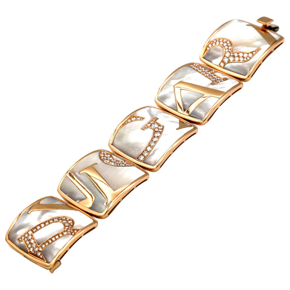 Bvlgari Pink Graffiti Gold Mother-of-Pearl Diamond Bracelet, Special Edition