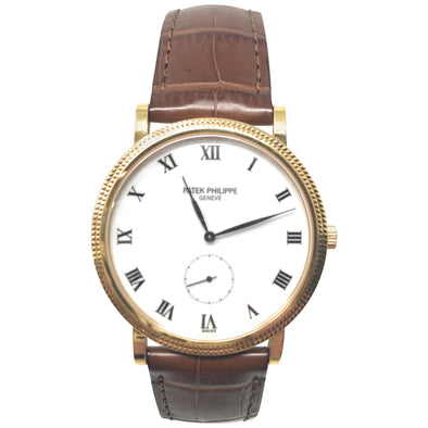 Patek Philippe Calatrava Yellow Gold Brown Strap Watch
