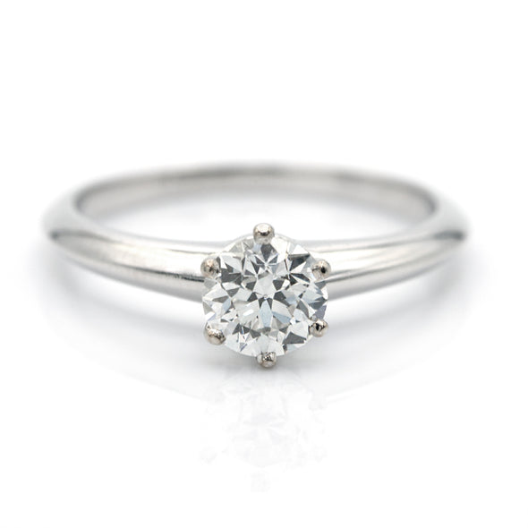 Tiffany & Co. Round Brilliant Platinum Engagement Ring Gia certified 0.77 Cts