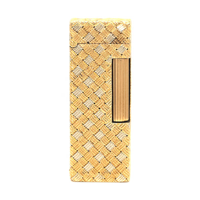 Alfred Dunhill 18k Yellow White Gold Weave Lighter