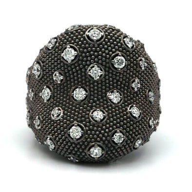 Black rhodium 18k gold dots and diamonds Ring