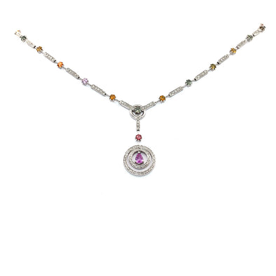 Diamond and Color Sapphire Necklace
