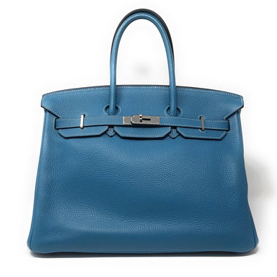 Hermes Birkin 35CM Blue Jean Togo  - The Jewels of Beverly Hills
