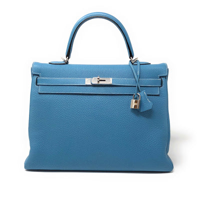 Hermes Kelly 35CM Blue Jean Togo  - The Jewels of Beverly Hills